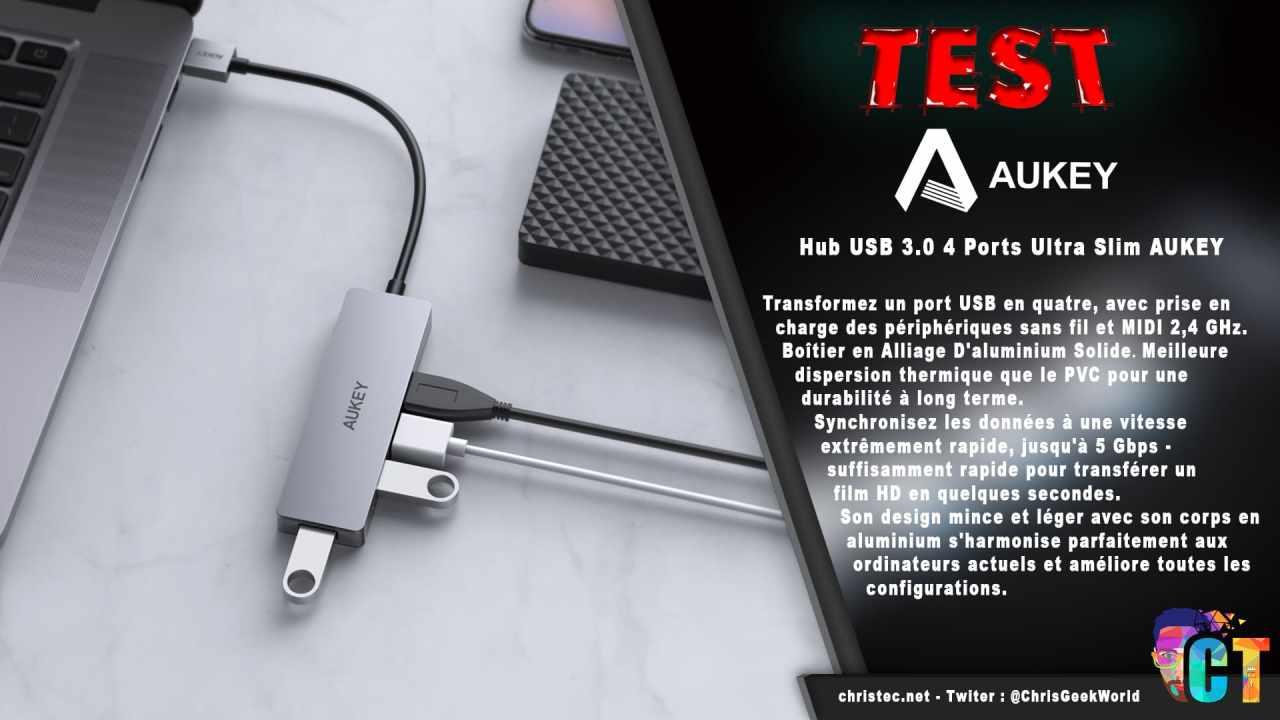 Test du hub USB 3.0 4 ports ultra slim de Aukey