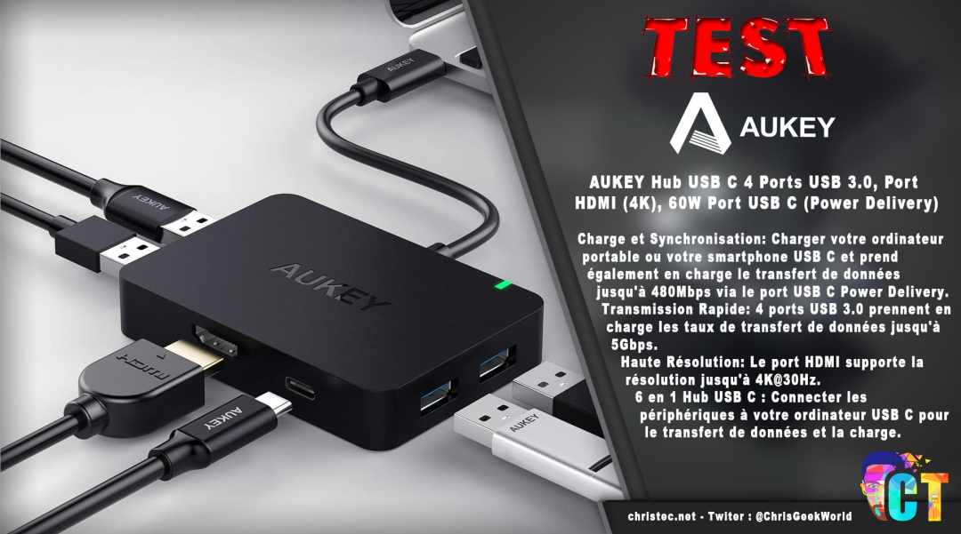 image en-tête Test du Hub USB C 60W (Power Delivery) 4 Ports USB 3.0, Port HDMI (4K) de Aukey