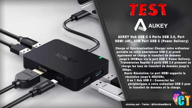 Test du Hub USB C 60W (Power Delivery) 4 Ports USB 3.0, Port HDMI (4K) de Aukey