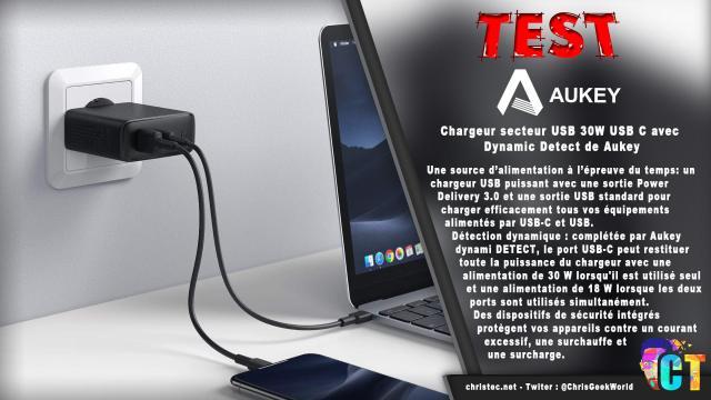 Test du chargeur secteur USB 30W USB C avec Dynamic Detect de Aukey