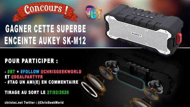 Concours twitter pour gagner une enceinte Aukey SK-M12