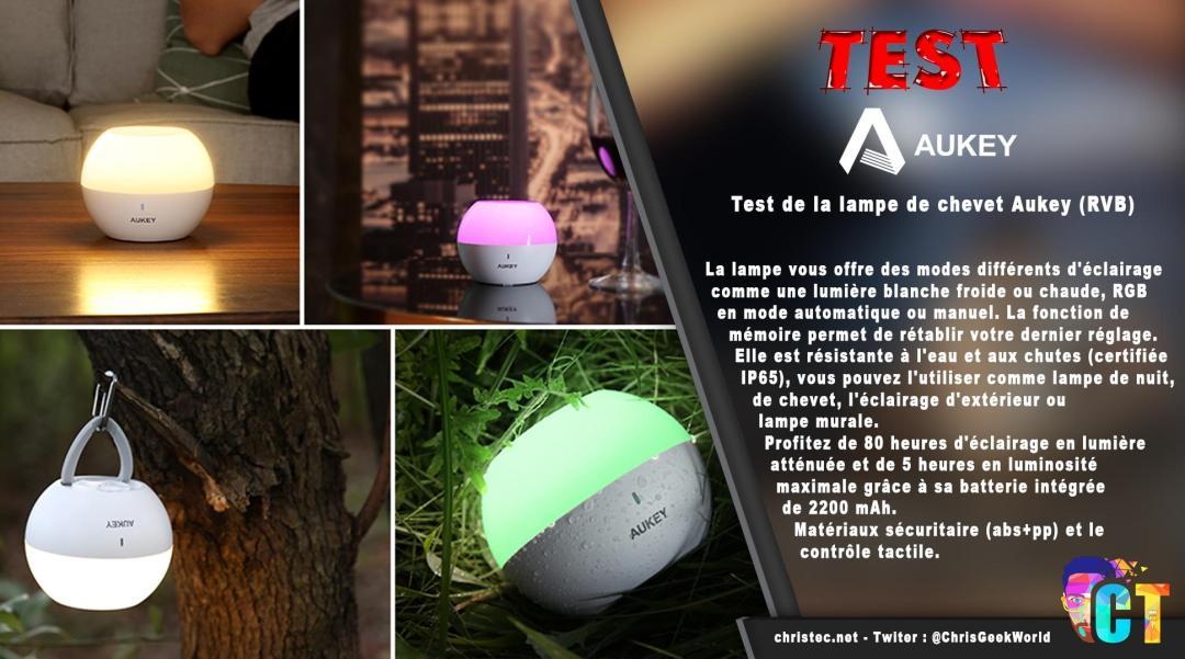 image en-tête Test de la lampe de chevet Aukey (RVB), rechargeable et étanche