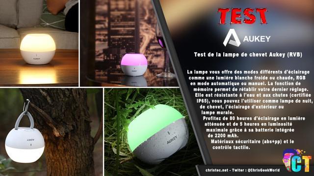 Test de la lampe de chevet Aukey (RVB), rechargeable et étanche