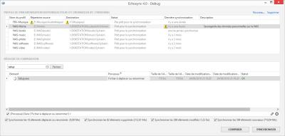 L'application d'un filtrage dans la liste des éléments à synchronisés. Les fonctionnalités de filtrage sont assez avancées.