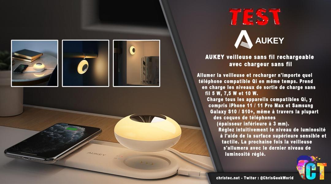 image en-tête Test de la veilleuse avec chargeur sans fil pour smartphone de chez Aukey