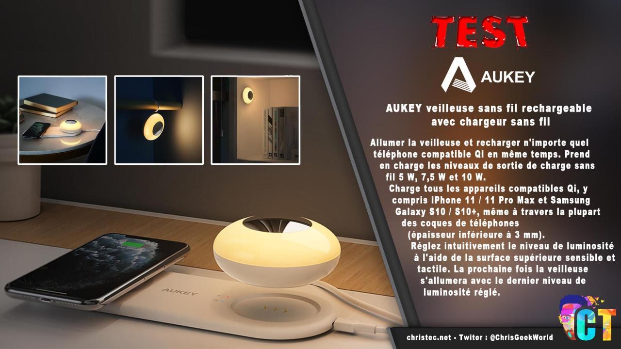Test de la veilleuse avec chargeur sans fil pour smartphone de chez Aukey