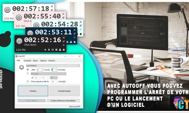 Avec AutoOff vous pouvez programmer l'arrêt de votre PC ou le lancement d'un logiciel