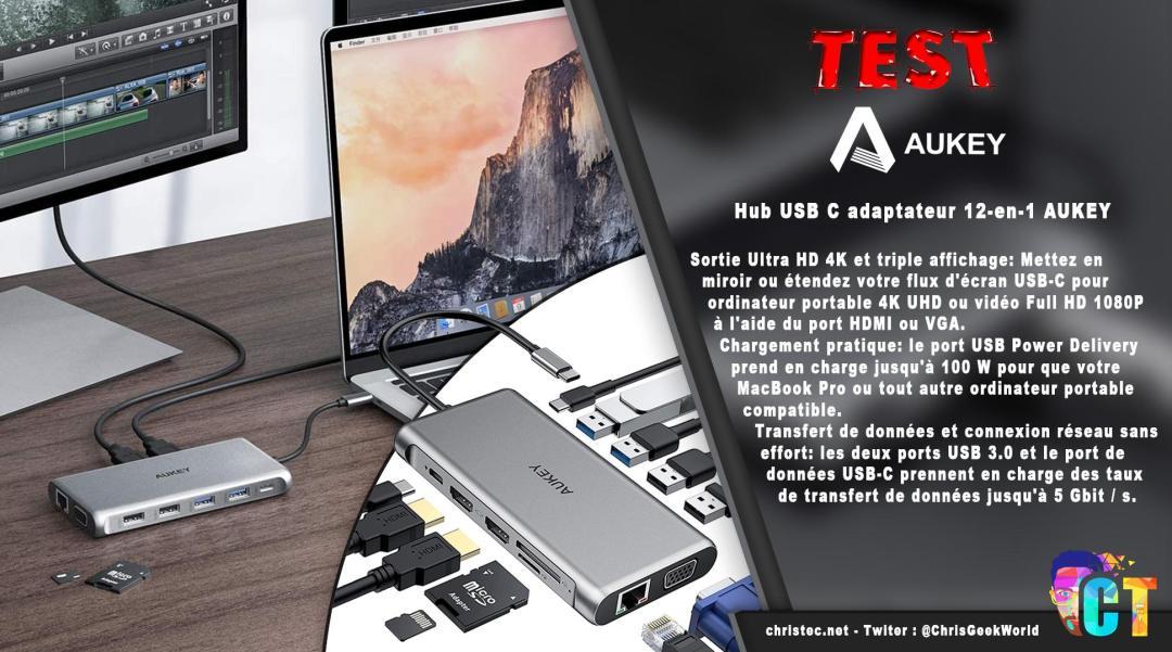 image en-tête Test du hub et adaptateur USB C 12 en 1 de Aukey