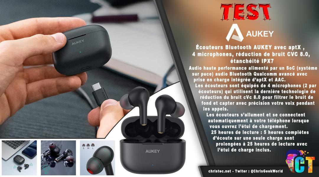 image en-tête Écouteurs Bluetooth AUKEY EP-T27 avec aptX, 4 microphones, réduction de bruit CVC 8.0, étanchéité IPX7