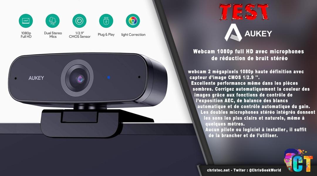 image en-tête Test de la webcam 1080p Aukey PC-W3 avec réduction de bruit stéréo