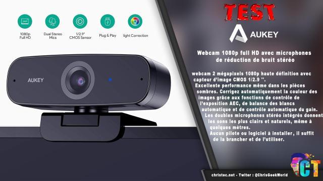 Test de la webcam 1080p Aukey PC-W3 avec réduction de bruit stéréo