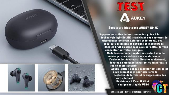 Test des écouteurs Bluetooth Aukey EP-N7 avec réduction du Bruit active et mode transparence