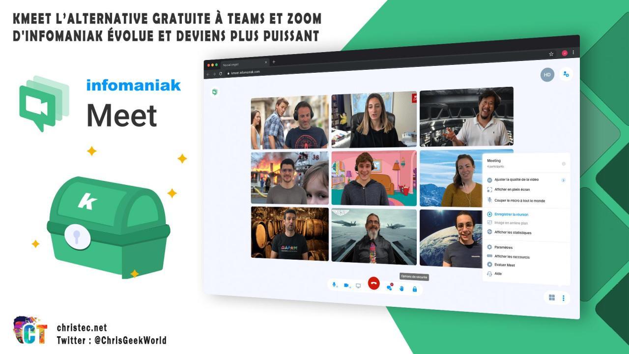 kMeet l'alternative gratuite à Teams et Zoom d'Infomaniak évolue et deviens plus puissant