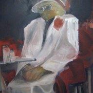 Im Cafe Acryl/LW 100x80cm 2009 FRAUEN