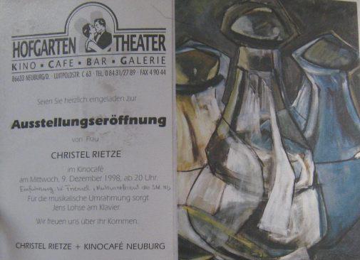 1999 Kinocafe Neuburg/Do.,Flaschen,Einzelausstellung