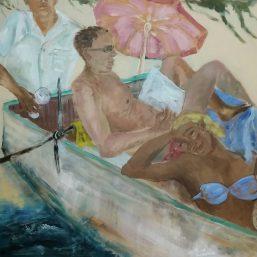 Siesta im Kahn, 80 x 80 cm, Acryl/LW, 2017