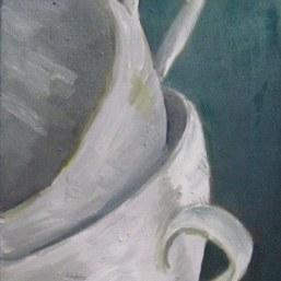 Teetassen, 32x24cm, Öl/LW, 2017