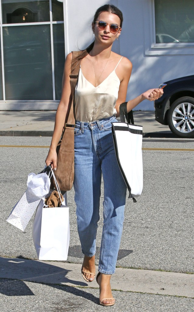 Beverly Hills, CA - Pretty babe Emily Ratajkowski joins a friend during a shopping trip in the 90201 area. She wore a nude blouse matching her strap heels and high waisted jeans. AKM-GSI April 12, 2016 To License These Photos, Please Contact : Steve Ginsburg (310) 505-8447 (323) 423-9397 steve@akmgsi.com sales@akmgsi.com or Maria Buda (917) 242-1505 mbuda@akmgsi.com ginsburgspalyinc@gmail.com