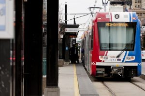Red line TRAX train at daybreak