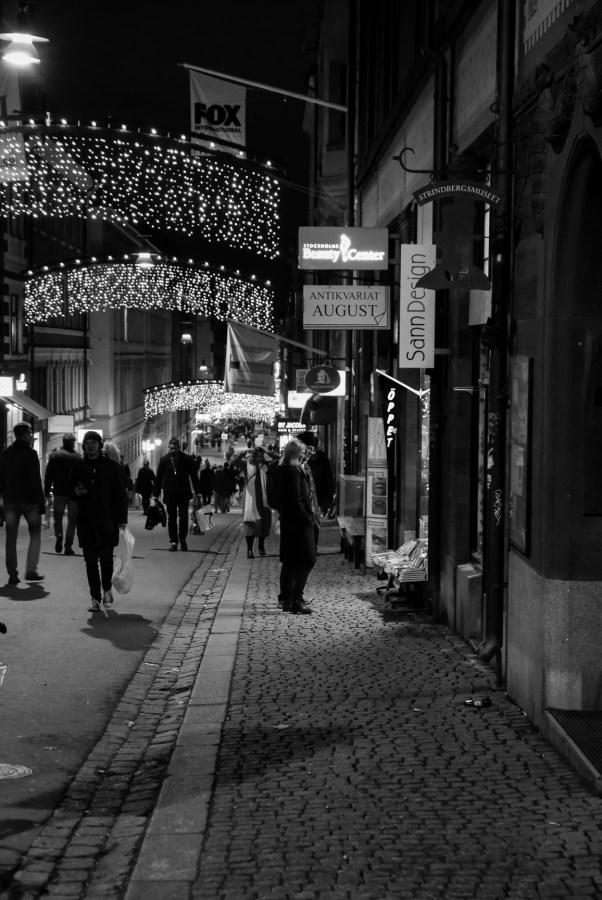 Stockholm by night på Drottninggatan