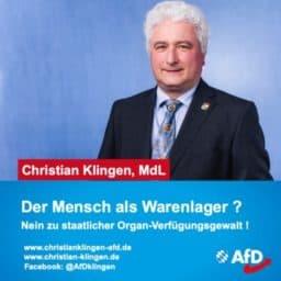 Organspende - Pressemeldung: Der Mensch als Warenlager vom MdL Christian Klingen