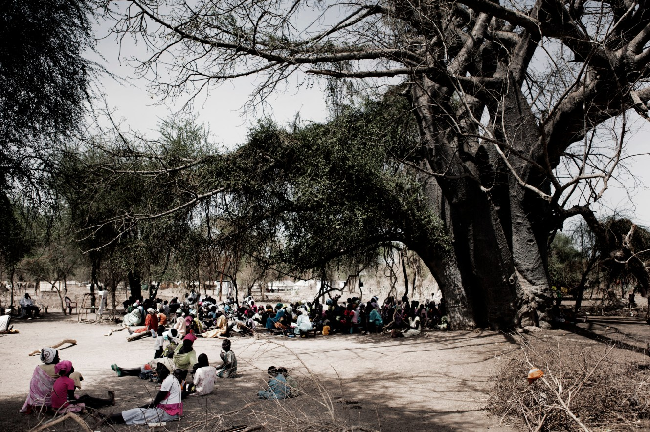 Sunday mass held beneath a huge baobab tree in Doro refugee camp.