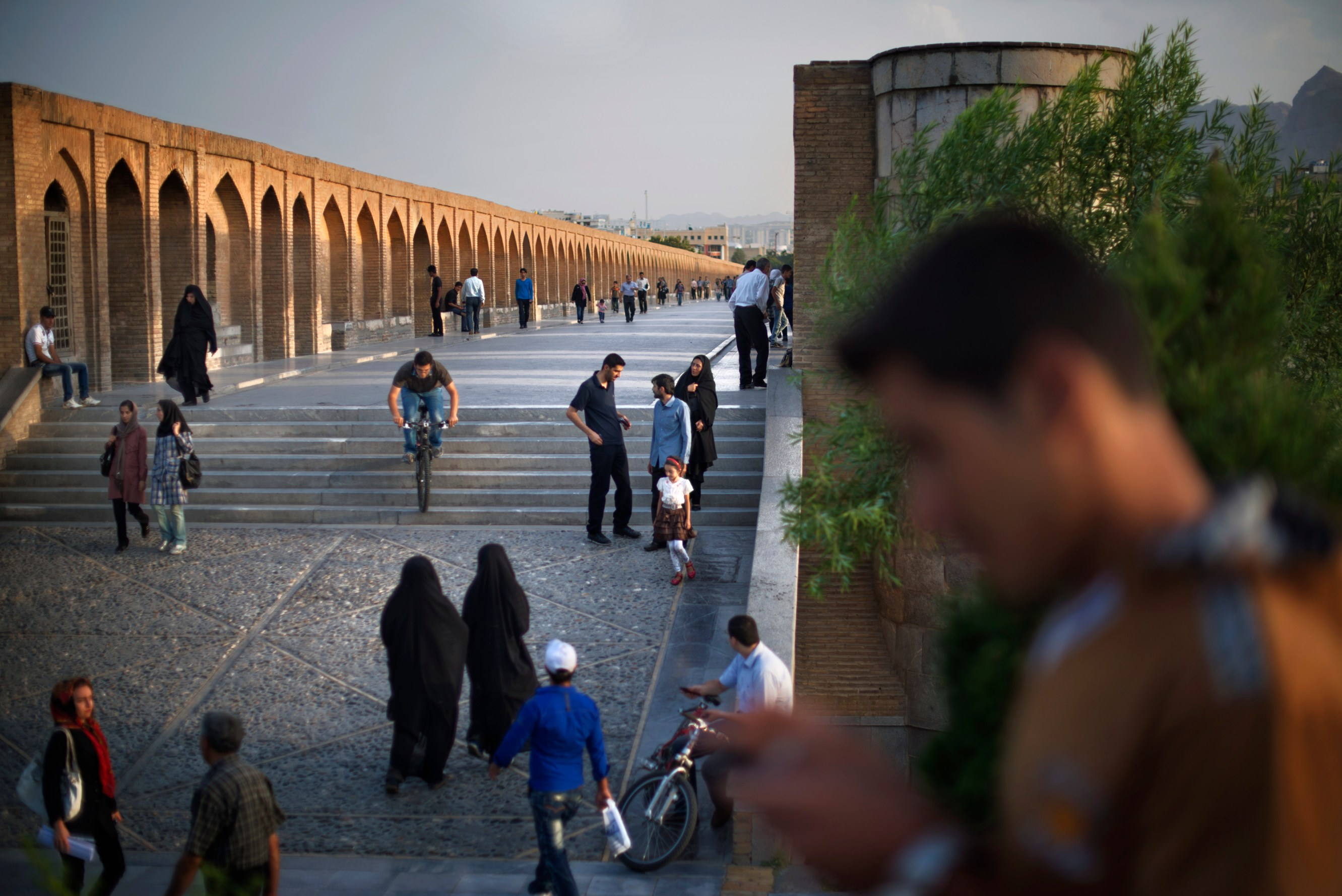 The Si-o-Seh Bridge in Esfahan is a popular spot to hang out at sunset.