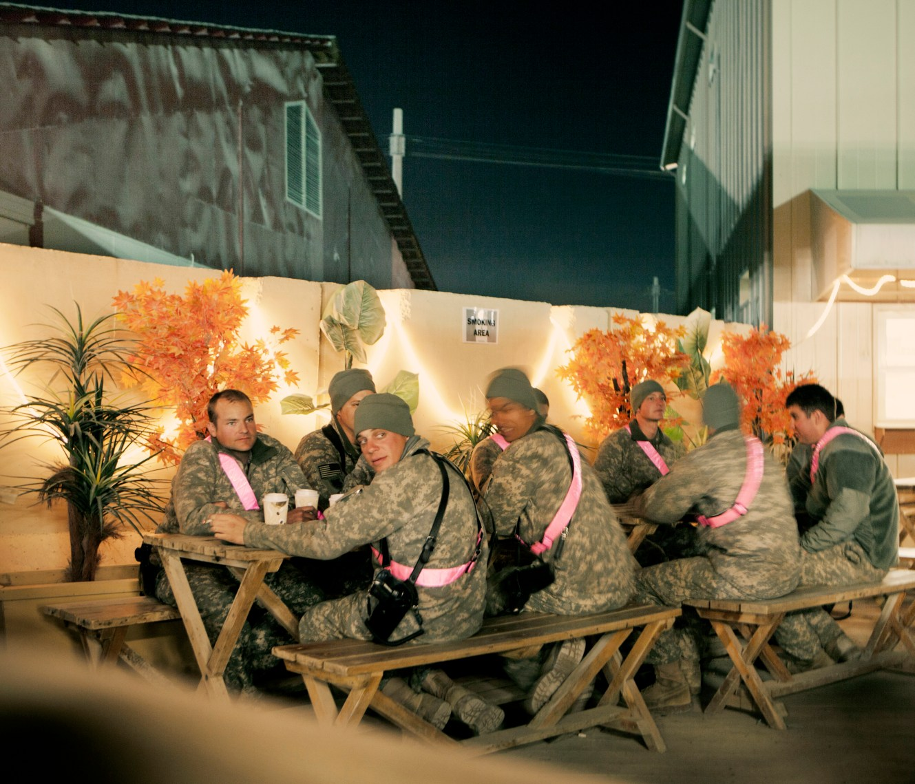 A group of American soldiers take a break in one of Camp Bastion's cafes. In June 2011, President Obama announced his plan to begin the withdrawal of US troops from Afghanistan, but there is currently no end date for the war in the troubled country. Helmand is the largest province in Afghanistan, and the heart of the war against terror. Commanders on the ground have described the situation as the most brutal conflict the British Army has been involved in since the Korean War. Much of the fighting between NATO and Taliban forces is taking place in this province and Helmand is a true Taliban stronghold. The Helmand River flows through the mainly desert region. With these images I am trying to show a softer side to this troubled area of Afghanistan.