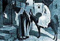 Inn keeper talking to Joseph.