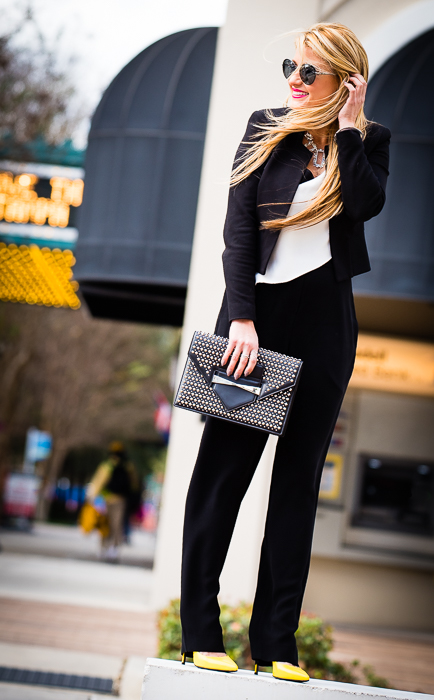 studded clutch, aviator sunglasses, mcqueen clutch, yellow pumps, saint laurent pumps, romper