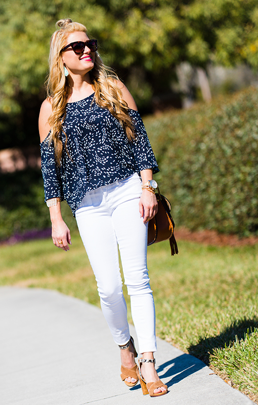 cupcakes and cashmere, cold shoulder top, frame jeans, white skinny jeans, chloe handbag, valentino sunglasses, rockstud, turquoise earrings, kendra scott earrings