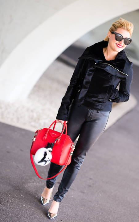 rick owens, leather pants, faux leather, red antigona, givenchy, fend charm, karl lagerfeld, jimmy choo abel, silver pumps