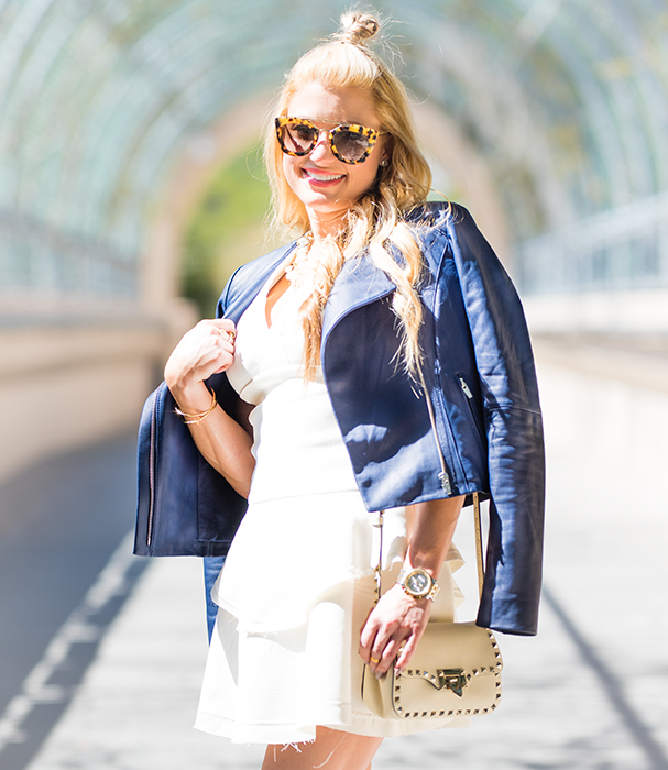 prada sunglasses, blue leather, pearl necklace, valentino handbag, rock studs, iro dress, ivory dress