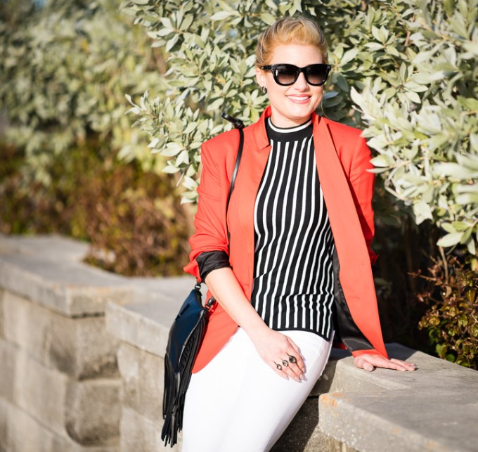 Yachting Attire Red Blazer Striped Blouse-3