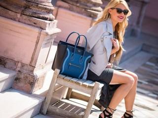 celine, micro luggage, lace up shoes, chanel sunglasses, faux leather jacket, grey jacket