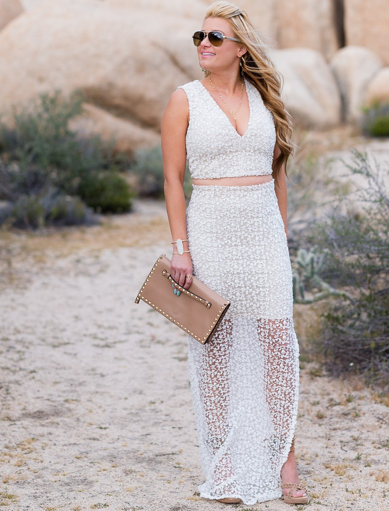 alice and olivia lace, cropped top, long skirt, valentino clutch, gucci sunglasses, joie flo heels