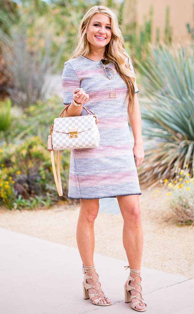 topshop knit dress, louis vuitton croisette, gucci aviators, striped dress, ivanka trump shoes,