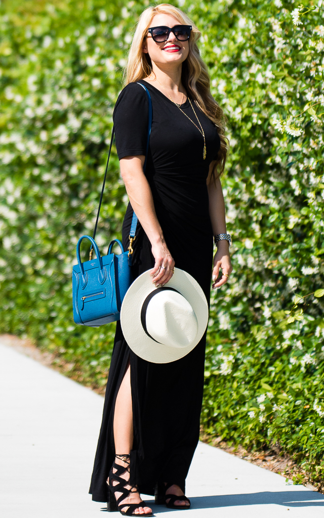 Celine nano, alc black dress, maxi dress, lace up heels, rag and bone hat, straw fedora, lace up heels, sam edelman heels