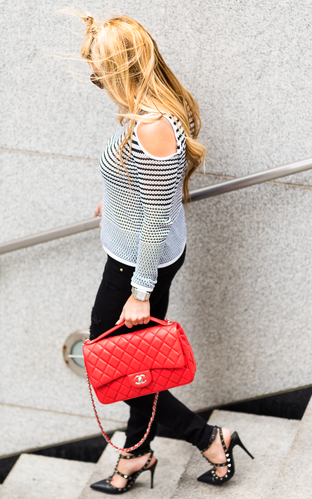 Black and White Top with Red Chanel POST-6