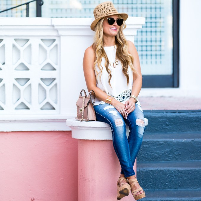 astr top, lace, crocheted top, seven jeans, ripped denim, straw hat, fedora, valentino handbag, rockstud, celine sunglasses, cork wedges