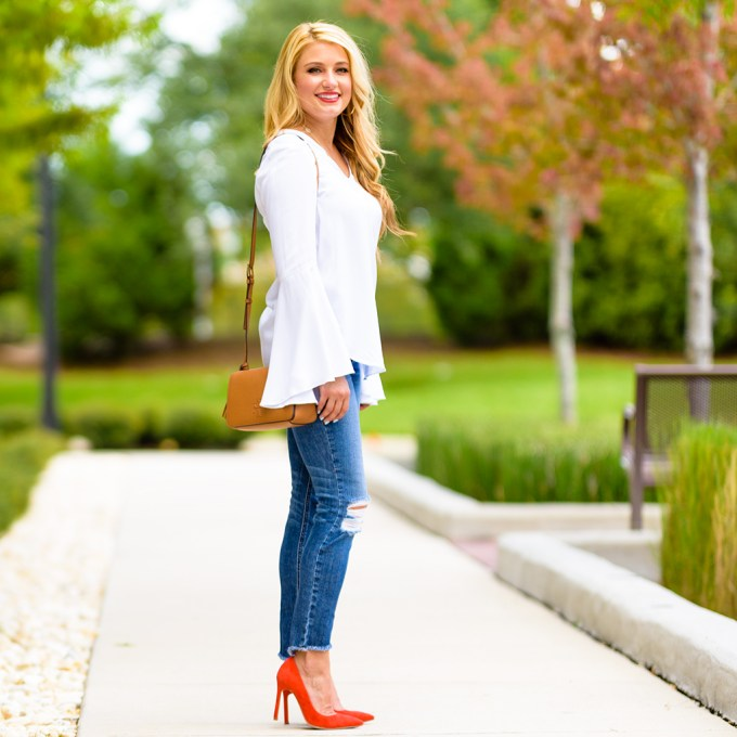 white blouse, bell sleeves, ripped denim, red pumps, nordstrom