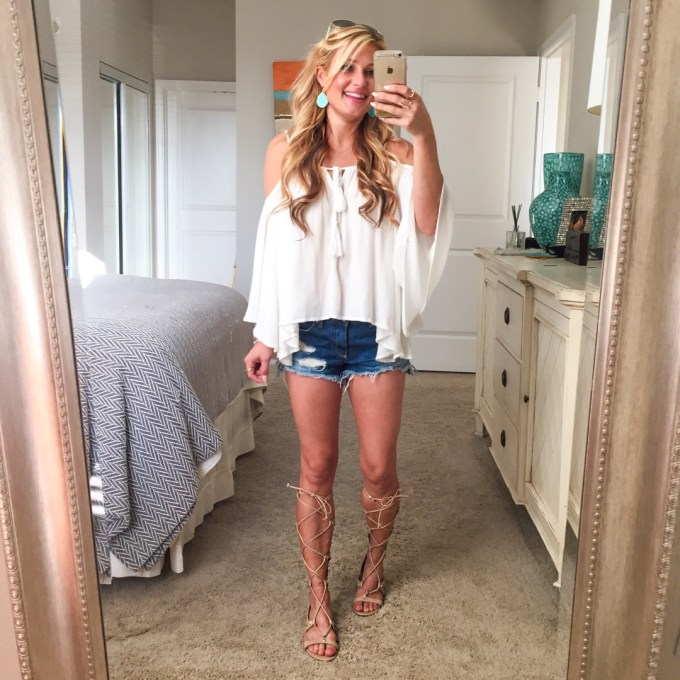 cold shoulder top, turquoise earrings, cutoffs