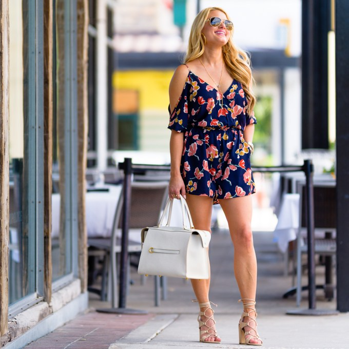 floral romper, celine handbag, gucci sunglasses, cropped jacket, ivanka trump heels, cold shoulder romper