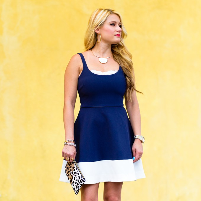 fit and flare dress, red white and blue, leopard clutch, gold choker necklace, red lips, pop of red