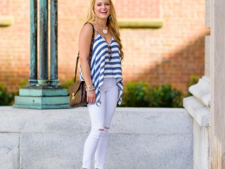 striped tank, blue and white, handkerchief tank, white denim, rips, louis vuitton handbag, pink pumps, suede pumps