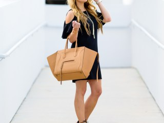 cold shoulder, lbd, little black dress, celine phantom, sam edelman heels, lace up booties, tassel necklace