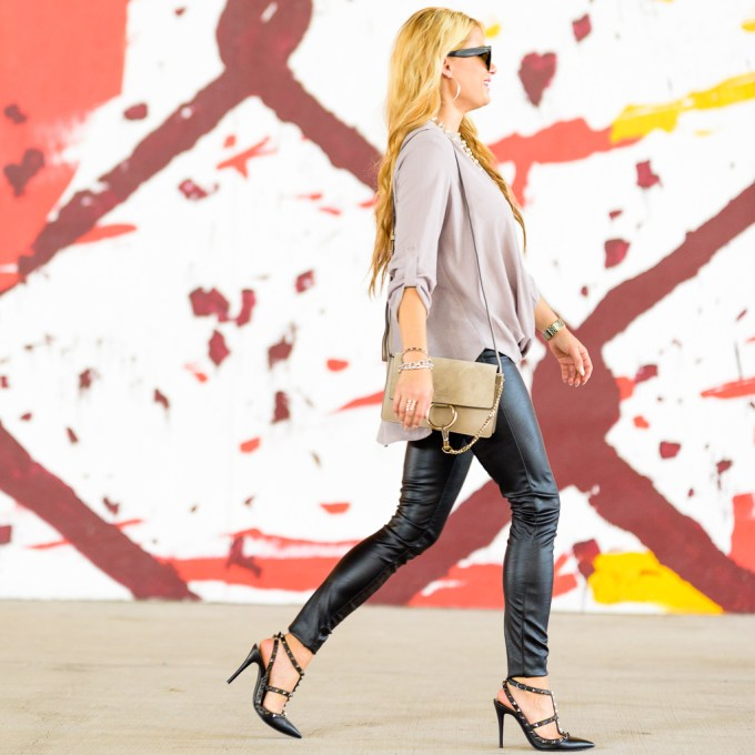 lush blouse, faux leather leggings, chloe faye, chloe handbag, valentino pumps, valentino rockstud