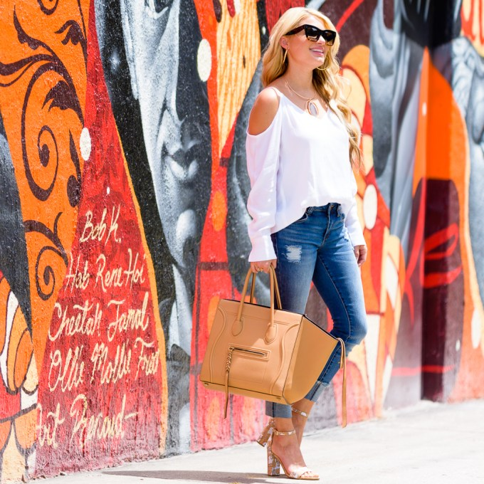 leith top, cold shoulder top, cropped jeans, celine handbag, phantom, ivanka trump shoes, celine sunglasses