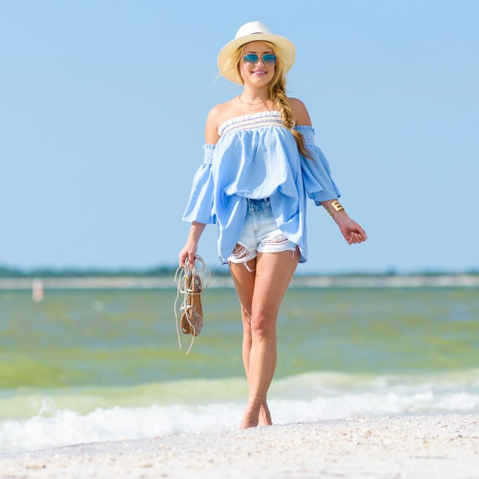chicwish, off the shoulder top, embroidery, cutoffs, beach, beach bag, target, target style, straw fedora, lace up sandals