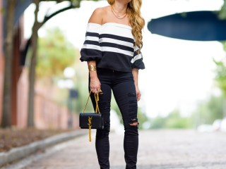 chicwish, black and white, black ripped denim, pigalle pumps, christian louboutin, celine sunglasses, saint laurent handbag, saint laurent, saint laurent monogram tassel bag
